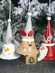 cheap -Wrought Iron Painted Santa Horn Bell Christmas Tree Pendant
