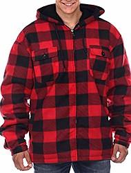 cheap -heavy thick plaid flannel jacket sherpa fleece lined zip up winter warm buffalo coat zipper big and tall hoodies for men red buffalo xxl