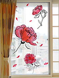 cheap -Frosted Privacy Beautiful Flowers Pattern Window Film Home Bedroom Bathroom Glass Window Film Stickers Self Adhesive Sticker 60*116cm