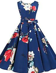 cheap -Women's A Line Dress Knee Length Dress Blue Sleeveless Floral Fall Elegant Casual 2021 S M L XL XXL