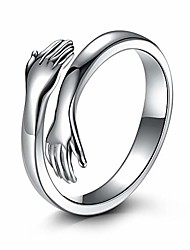 cheap -hugging ring 925 sterling silver rings for women girls silver hugging hands open ring jewelry ( us ring size)
