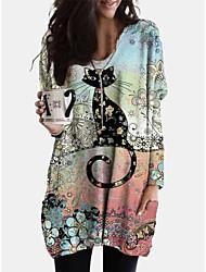 cheap -Women's Shift Dress Short Mini Dress - Long Sleeve Cat Print Dress Animal Patchwork Print Spring Fall V Neck Casual Boho Cotton Loose 2020 Blushing Pink L XL XXL 3XL 4XL 5XL