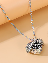 cheap -Women's Pendant Necklace Lockets Necklace Heart Vintage European Fashion Alloy Silver 70 cm Necklace Jewelry 1pc For Gift