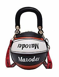 cheap -basketball shaped purse shoulder handbags cute tote cross body messenger pu leather bag adjustable strap for women girls (black white)