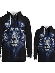 cheap -Daddy and Me Active Lion Graphic 3D Print Animal Print Long Sleeve Regular Hoodie & Sweatshirt Navy Blue