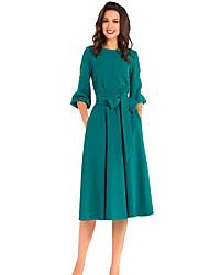cheap -Women's Sheath Dress Knee Length Dress Purple Wine Khaki Green Royal Blue 3/4 Length Sleeve Solid Color Fall Elegant Vintage 2021 S M L XL XXL 3XL