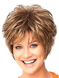 cheap -wigs for white women short brown hair wig curly synthetic female wigs natural looking wig