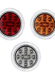 cheap -2 Pcs 4 Inch 4W Round Amber 12 LED Signal Turn Lamp Lorry RV Trailer Tail Light 12V