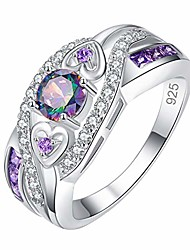 cheap -multicolored zirconia plated silver and silver ring amethyst ring couple ring (multicolor-13)