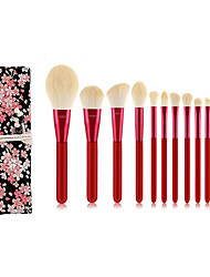 cheap -12 Chinese Red Makeup Brushes Animal Hair Makeup Pen Makeup Tools Chinese Style Makeup Brush Pack
