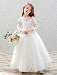 cheap -Princess / Ball Gown Ankle Length Wedding / Party Flower Girl Dresses - Tulle 3/4 Length Sleeve Jewel Neck with Pleats / Appliques