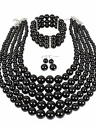 cheap -multi layer pearl strand necklace bracelet and earring imitate black pearl jewelry set