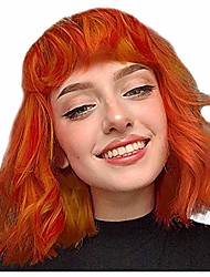 cheap -new curly short wig for black womens girls full hair bob wigs with bangs synthetic fiber costume party wig (orange)