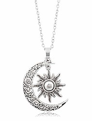cheap -vintage bronze crescent moon and sun pendant necklace retro swirl filigree unisex jewelry gifts (silver)