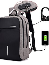cheap -Men's Polyester Laptop Bag School Bag Rucksack Large Capacity Waterproof Zipper Causal Outdoor Backpack Dark Grey Black Light Gray