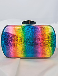 cheap -Women's Bags PU Alloy Evening Bag Glitter Striped Color Block Wedding Event / Party Handbags Rainbow