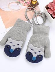 cheap -2pcs Toddler Girls' Basic Black / Blue Animal Cotton Gloves Black / Blue / Blushing Pink One-Size