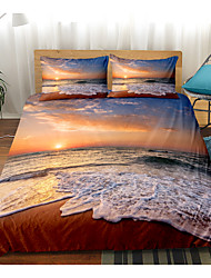 cheap -Ocean Beach Bedding Sunrise Duvet Cover Set Sunrise on The Beach Nature Theme Pattern Clouds Boys Girls 3-Pieces Duvet Cover Twin/Queen/King Size(Include 1 Duvet Cover and 1or 2 Pillowcases)
