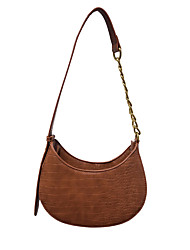 cheap -Women's Bags PU Leather Top Handle Bag Hobo Bag Baguette Bag Chain Daily Handbags Chain Bag White Black Brown