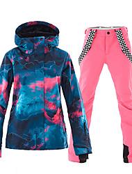 cheap -Women's Ski Jacket with Pants Skiing Ski / Snowboard Winter Sports Thermal Warm Waterproof Windproof Polyester Jacket Pants / Trousers Ski Wear / Long Sleeve / Full Length