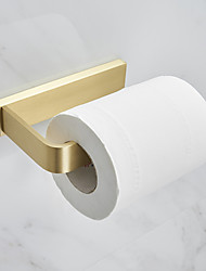 cheap -Toilet Paper Holder Creative Modern Metal Roll Paper Holder Bathroom Wall Mounted Golden 1pc