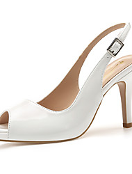 cheap -Women's Sandals High Heel Open Toe Classic Vintage Sexy Daily Office & Career Solid Colored Patent Leather Almond / White / Black