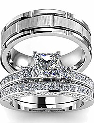 cheap -two rings his hers couples matching rings women's 2pc white gold filled square cz wedding engagement ring bridal sets & men's titanium wedding band