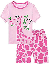 cheap -little girls short pajamas 100% cotton kids giraffe sleepwears summer toddler pjs clothes shirts 1-7t