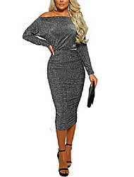 cheap -Women's Sheath Dress Black Blue Red Yellow Long Sleeve Solid Color Spring Summer Sexy Cotton S M L XL 2XL 3XL