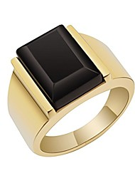 cheap -retro ring 18k gold plated stainless steel ring man's black onyx ring (12)