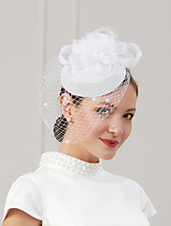 cheap -Feathers / Net Fascinators / Hats / Headwear with Feather / Cap / Flower 1 Piece Wedding / Special Occasion Headpiece
