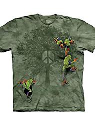 cheap -men's peace tree frog t-shirt, green design, small