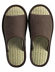 cheap -women mens unisex straw weaving cotton linen open-toe home slippers shoes casual flax soft non-slip sole shoes (10-11b us/270mm 43/44, brown#9)