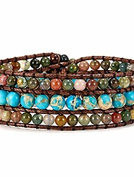 cheap -7 chakra yoga bracelet imperial jasper bracelet adjustable handmade beaded wrap bracelets healing protection nature stone bangle for women girl