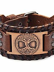 cheap -viking bracelet adjustable bangle - mens leather bracelet handmade with nordic amulet - tree of life jewelry
