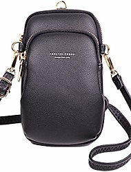 cheap -worldyda vegan leather crossbody cell phone purse with card slot 2 shoulder strapstop handle wallet (black 3)