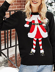 cheap -Women's Christmas Knitted Solid Color Pullover Acrylic Fibers Long Sleeve Sweater Cardigans Crew Neck Fall Winter Black