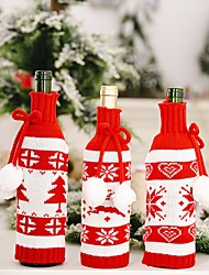 cheap -Christmas Knitted Double Ball Wine Bottle Cover Creative Red And White Wine Bottle Bag Red Wine Bottle Cover 2pcs