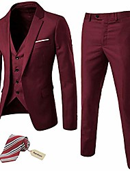 cheap -but& #39;s slim fit 3 pieces suit, one button blazer set, jacket vest & pants burgundy
