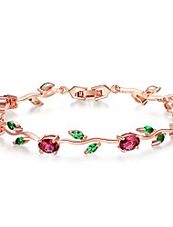 cheap -mothers day gift/lovely rose gold plated bracelets with aaa cubic zirconia ruby flower emerald leaf beautiful vine bracelet for women 7 inch-ideal tennis bracelets valentine's day gift