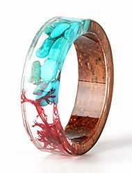 cheap -unique handmade wood ring with turquoise and red seaweed insided transparent resin band ring best gift for her size 7.5