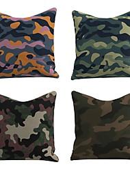 cheap -Set of 4 Linen Cotton / Linen Pillow Cover Holiday Christmas Modern Christmas Throw Pillow Rainforest Camouflage