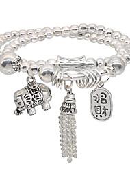 cheap -Men's Women's Bead Bracelet Friendship Bracelet Wrap Bracelet Beads Elephant Fashion Vintage Theme Stylish Unique Design Dangling Vintage Ethnic Alloy Bracelet Jewelry Silver For Sport Gift Formal