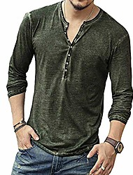 cheap -but& #39;s casual v-neck button long sleeve henley t shirts lightweight tops green l