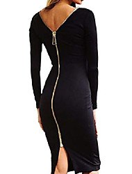 cheap -women long sleeve bodycon zipper back pencil dress black xl