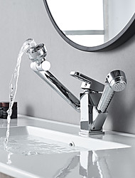 cheap -Bathroom Sink Faucet - Rotatable / Pull out / Pullout Spray Electroplated Centerset Single Handle One HoleBath Taps
