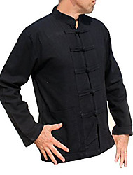 cheap -thick muang cotton chinese jacket shirt mandarin frog button front, medium, black