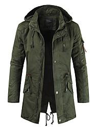 cheap -Men's Jacket Street Daily Outdoor Winter Coat Coats / Jackets Fashion Casual Daily Jacket Long Sleeve ArmyGreen khaki Navy Blue