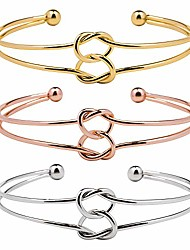 cheap -3 sets adjustable bracelet alloy simple forever love fashion plated stainless steel metal jewelry bangle wristlet circlet cuff for women girls gift