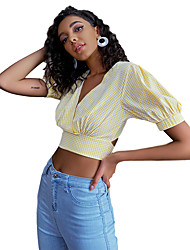cheap -Women's Crop Top Plaid Backless Lace up Print V Neck Tops Puff Sleeve Slim Sexy Basic Top Yellow